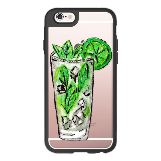 Iced Mint Mojito Hand Painted Watercolor Mixed Drink with Mint Leaves... ($40) ❤ liked on Polyvore featuring accessories, tech accessories, iphone case, lime green iphone case, mint iphone case, transparent iphone case, iphone cover case and apple iphone cases