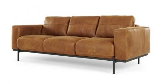 Jarrod Canape 3 Places Cuir Brun 3 Seater Sofa Tan Leather Sofas Tan Sofa
