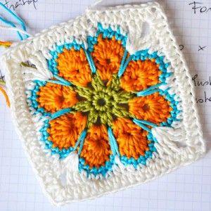 """Granny Square """"Somalia"""": Crochet Flower, Crochet Granny Squares, Crochet Motif, Flower Granny Square Pattern, African Flower, Crochet Square"""