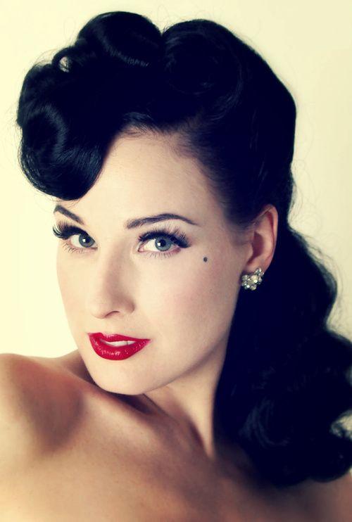 Dita Von Teese. Love the hair!