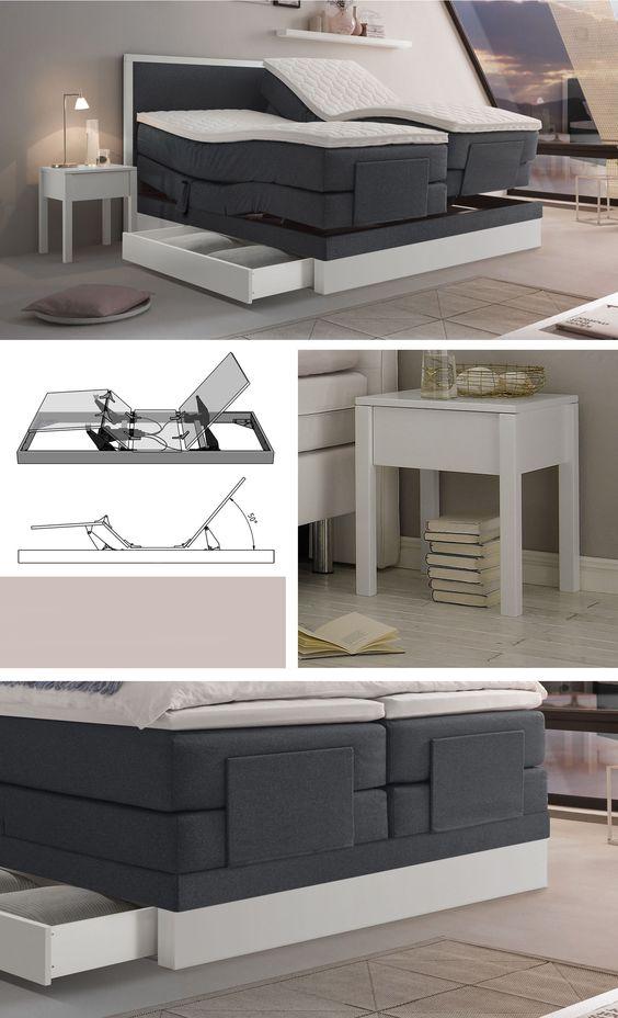 elektrisch verstellbares boxspringbett mit integriertem. Black Bedroom Furniture Sets. Home Design Ideas