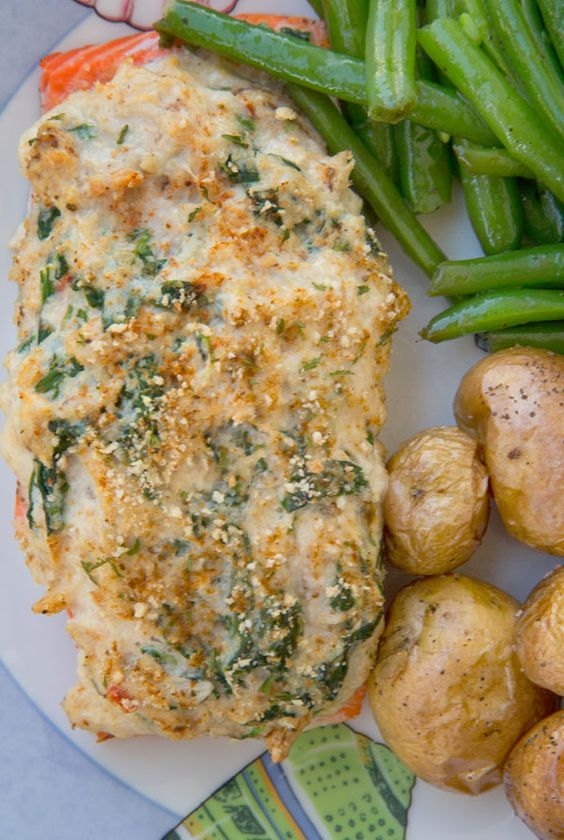 Spinach Stuffed Roast Salmon Recipe — Dishmaps