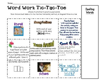Word work words and tic tac on pinterest for Tic tac toe homework template