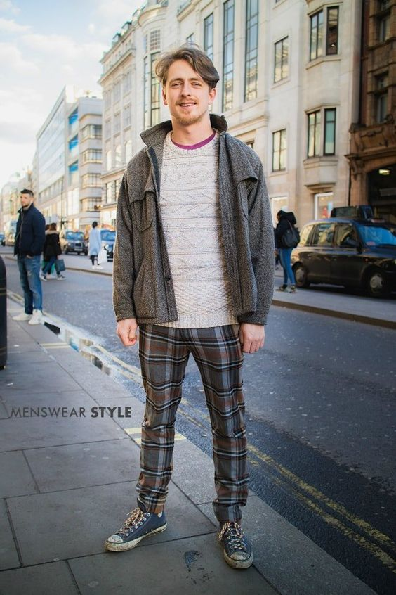 Patrick on the streets of London in spring 2018 wears Tartan trousers, high top Converse, cable knit jumper and Tweed jacket.