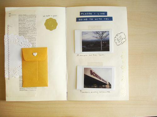 photos, envelope, labels
