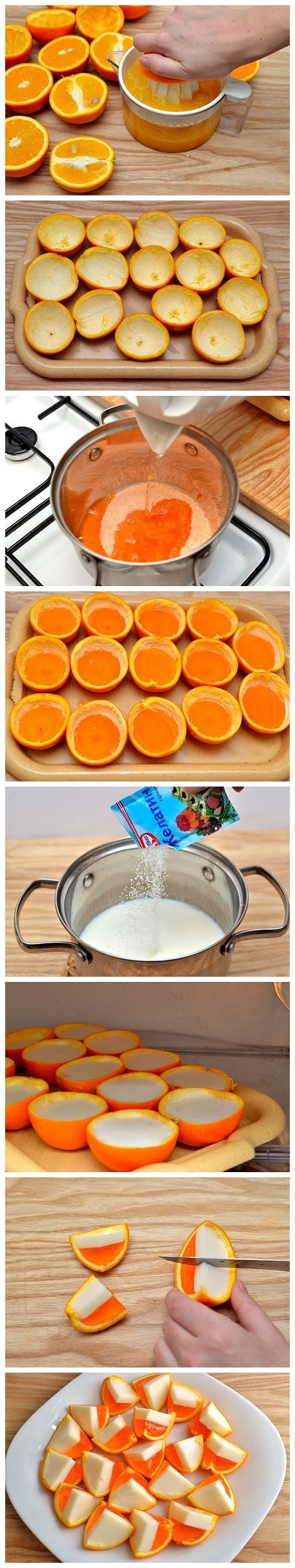 Bocados de naranja y gelatina y coco muy ingenioso