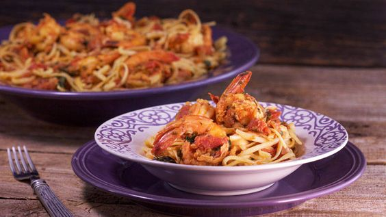 Linguini with Shrimp Fra Diavolo. Make with zucchini noodles