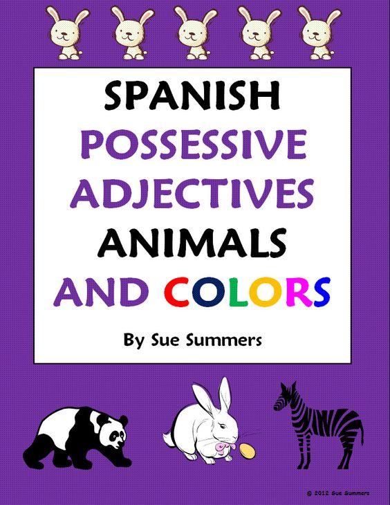 Spanish Possessive Adjectives Animals Colors Worksheet