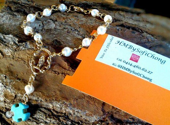 #hechoamano #denario #pulsera #perlas #turquesa #handmade #handcrafted #dowhatyoulove #sofichong #recuerditos #favors #firstcomunion