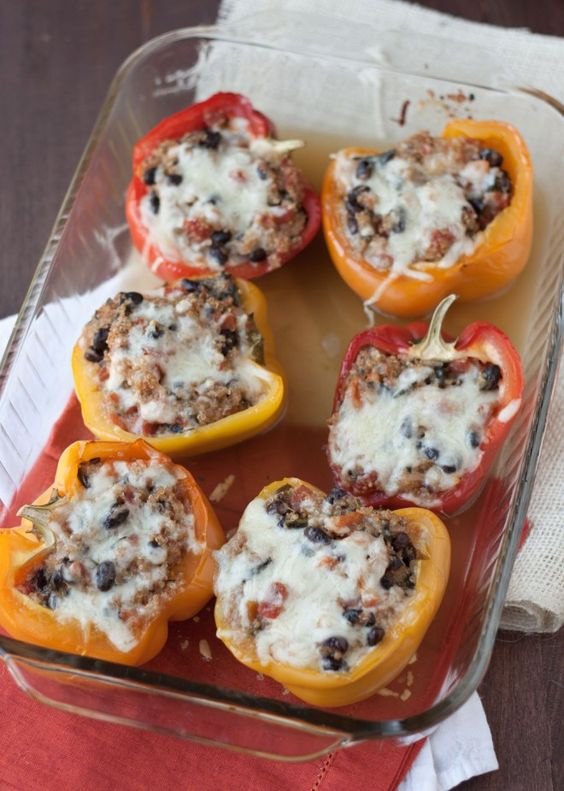 Quinoa and bean stuffed peppers: will probably only use black beans and cut back on cheese. And maybe add some spinach!