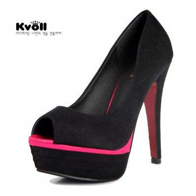 Velvet black brief solid color all-match platform diamond ultra high heels open toe shoes shallow mouth