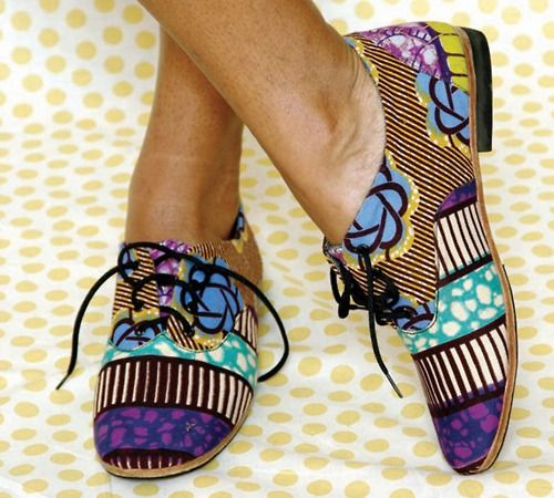 Patterned shoes.