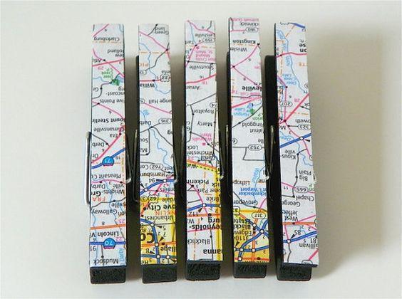Clothespin Magnet Set Black Atlas by RunningBlynd on Etsy