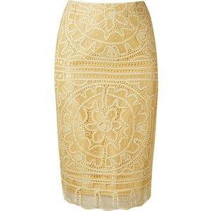 £: Martha Medeiros Renascença Lace Pencil Skirt