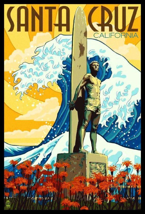 Santa Cruz Fridge Magnet 6x8 California Surfing Travel Poster Canvas Print Ebay Retro Travel Poster Vintage Posters Vintage Travel Posters