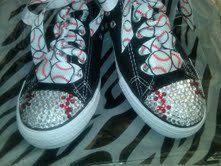 Baseball Blinged Tennis Shoes by sassygirlsx3 on Etsy, $44.00