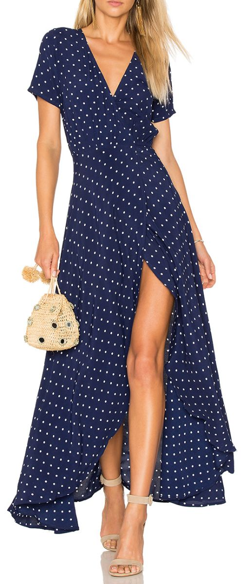 Dot wrap maxi dress