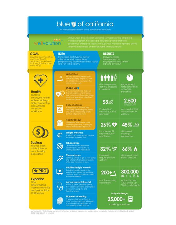 Blue Shield of California released this infographic about Wellvolution, our employee wellness program, to show the different ways we try to improve employee wellbeing.