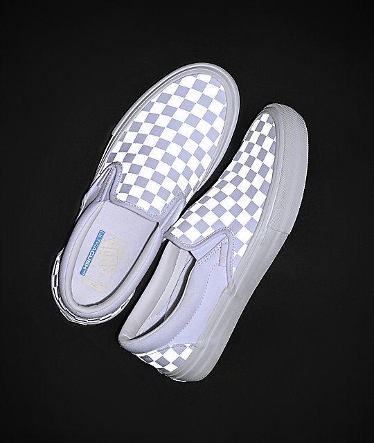 Vans Slip On Pro Reflect White Skate Shoes Zumiez Vans Slip On Pro Vans Shoes Fashion Custom Vans Shoes
