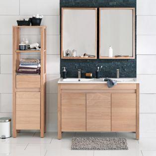 Ensemble de meubles de salle de bains en ch ne naturel - Meuble salle de bain naturel ...