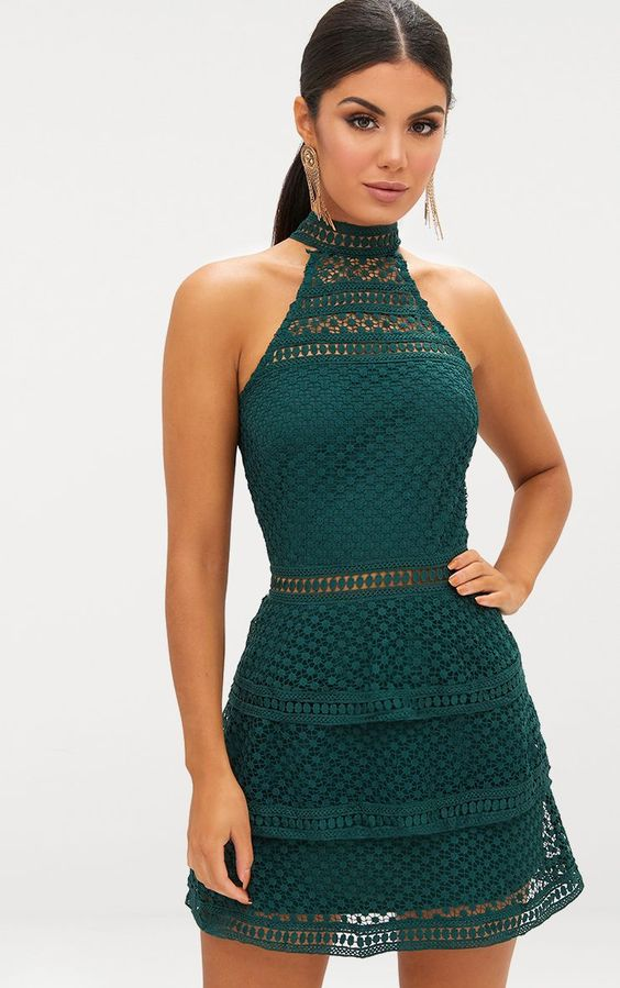 Emerald Green Lace Panel Tiered Mini DressWork a lust worthy look in this ultra-luxe lace panel d...