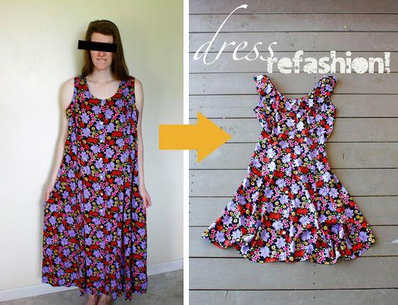 Make a long sheath '90's dress into a cute little sundress!
