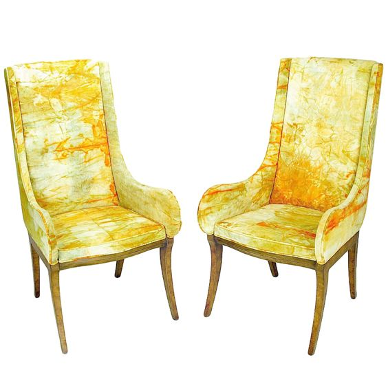 Mastercraft Furniture For Sale #19: Mastercraft Burl Arm Chairs With Colorful Tie-Dyed Velvet Fabric   From A Unique Collection
