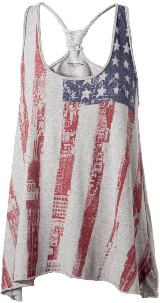 american woman image patriotic   Tommy Hilfiger Cailyn American Flag Tank Top in Gray (grey) - Lyst