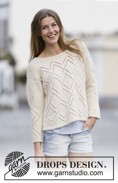 "Knitted DROPS jumper with lace pattern, worked top down in ""Air"". Size S-XXXL. ~ DROPS Design:"