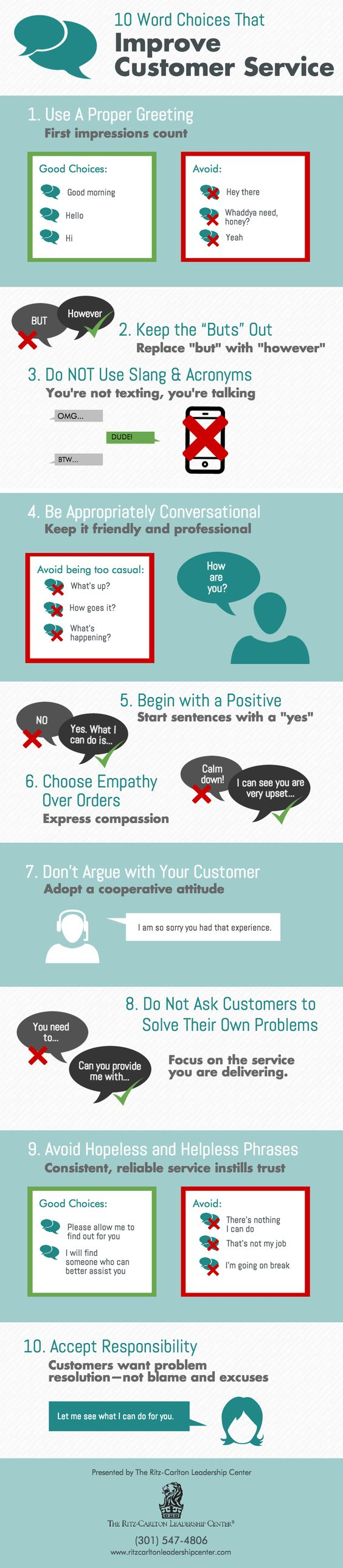 This customer service infographic from The Ritz-Carlton Leadership Center offers 10 word choices that will help you improve customer service skills.