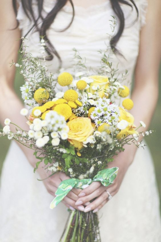 billy button, yellow rose, and white aster wedding bouquet // photo by Christian Cruz