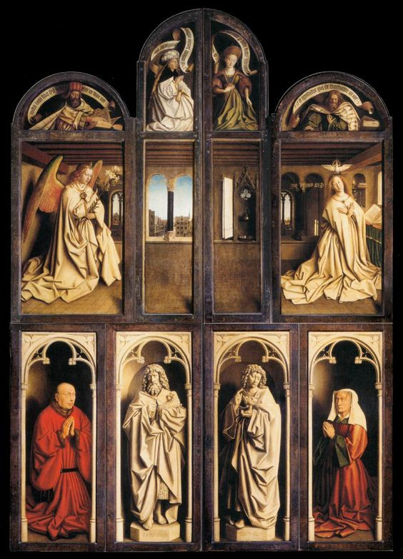 HUBERT and JAN VAN EYCK:  The Ghent Altarpiece (wings closed), 1432, Oil on wood, 350 x 223 cm, Cathedral of St Bavo, Ghent. The realism of the figures of Adam and Eve at the far right and left on the open altarpiece struck contemporary viewers forcefully, and this style continues on the outside of the panels when the altarpiece is closed.