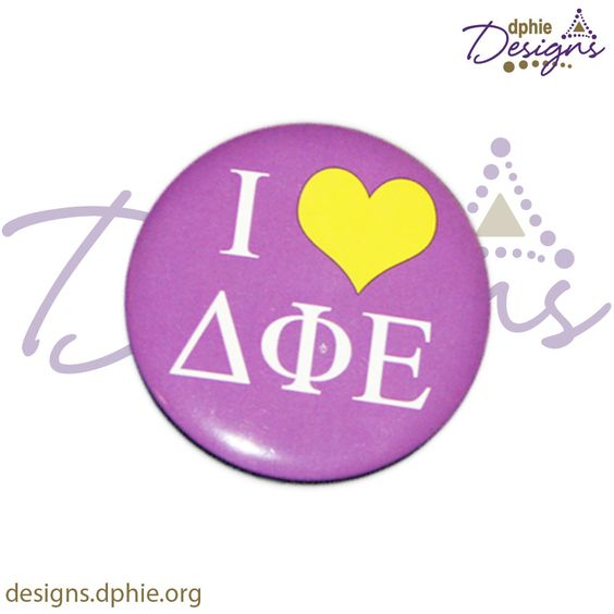I <3 DPhiE 3in. Button!! Perfect for a simple bid day gift!! Delta Phi Epsilon!! DPhiE Designs!!
