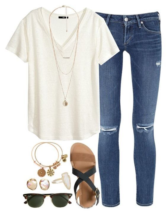june 17 by okieprep on Polyvore featuring polyvore, fashion, style, H&M, Citizens of Humanity, IPANEMA, MANGO, Alex and Ani and Kendra Scott: