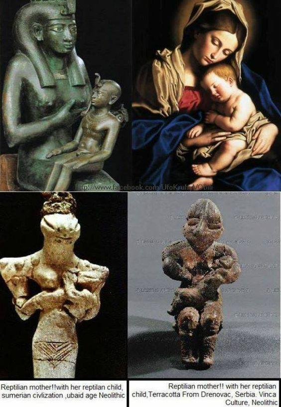 Isis suckling Horus, Virgin Mary suckling Jesus, Reptilian suckling reptilian child