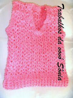 Trabalhos da vovó Sônia: Colete infantil Fantasy rosa - crochê
