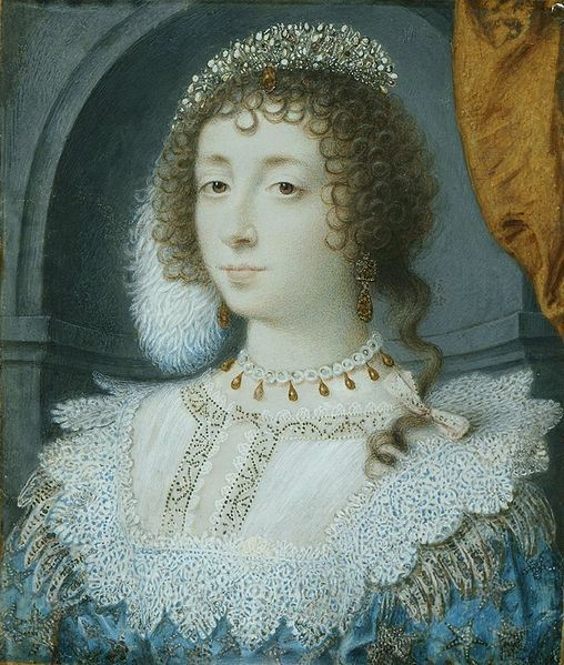 Henrietta Maria of France, Queen of England, miniature by John Hoskins, c. 1632, Royal Collection. (Note; this is another interesting take on the Queen. Her dressing seems fussy & lacking in style.Her expression is moody , not to say calculating . Van Dyck's vision would produce a very different image of Henrietta Maria.MS.)