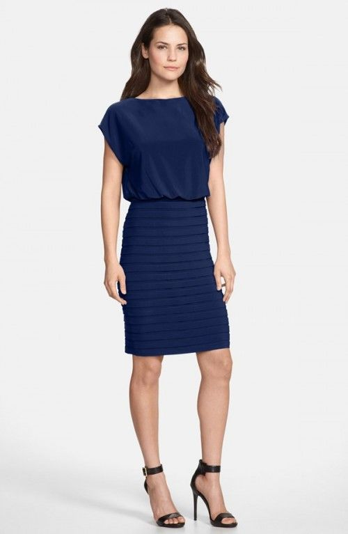 Adrianna Papell Blouson Shutter Pleat Jersey Dress | Clothing