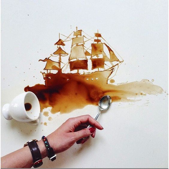 "Artist Giulia Bernardelli bringing new meaning to the term ""coffee art"" on this Sunday morning. \\\ Photo by @bernulia"