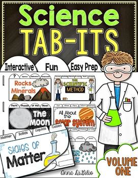 These Science Tab-Its are engaging, fun, rigorous and fit beautifully in your Interactive Notebooks! Each page of these Tab-It Booklets incorporates reading, writing, art, and research skills. There are 6 Science Tab-Its included:* States of Matter * Phases of the Moon* The Solar System* Rocks and Minerals* The Scientific Method (works for ANY EXPERIMENT)* The Water CycleThese Science Tab-Its are used for students to conduct research on the specific unit of study.