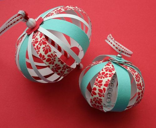 DIY Christmas ornaments made out of scrapbook paper. http://www.frugalupstate.com/crafts-diy/diy-35-out-of-the-ordinary-ornaments-to-make/