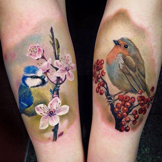 Blue Tit & Robin by Nancy Mietzi.  http://tattooideas247.com/blue-tit-robin/