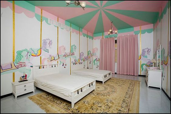 Carousels baby bedroom and bedroom girls on pinterest for Carousel wall mural