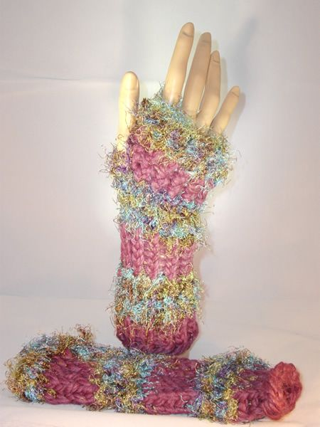 Plum and fuzzy multi color Finger less mittens. Sold :)