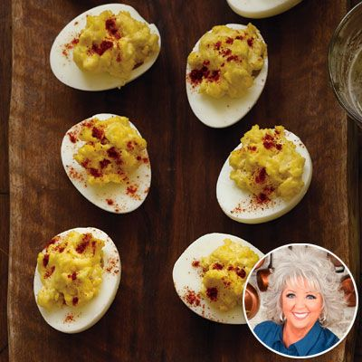 Paula Deen's Deviled Eggs - for Christmas at Ms. Evelyn's! :)  My house is gonna STINK!!!! ;)