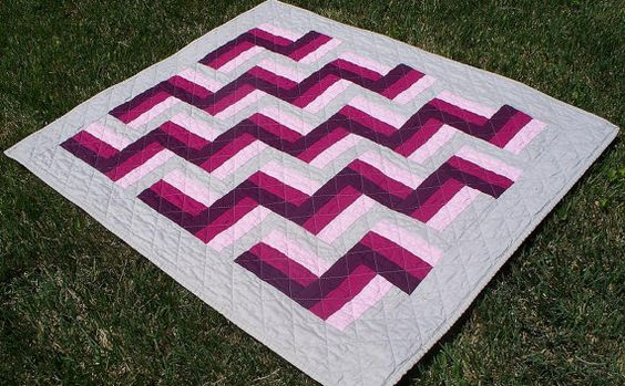Modern Baby Girls Quilt in Pink Purple & Grey by PeaceLoveandQuilts http://www.facebook.com/pages/Peace-Love-Quilts-by-Karen-Walters/204541646230778
