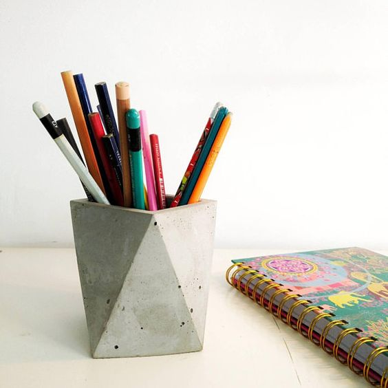 Concrete Pencil Holder, Concrete Office Decor, Modern Office Desk, Office desk accessories, Office Organization, Pen Holder for Desk This concrete Pencil Holder are individually hand poured, Modern handcrafted geometric Holder pen They make the most perfect little accents around the home