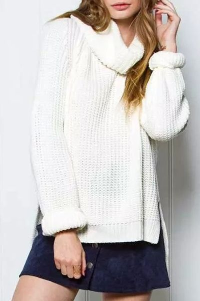 Solid Color High Low Hem Turtle Neck Sweater
