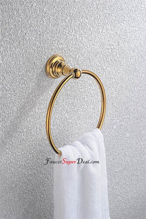 Contemporary Ti-PVD Finish Bathroom Accessories Brass Round Towel…