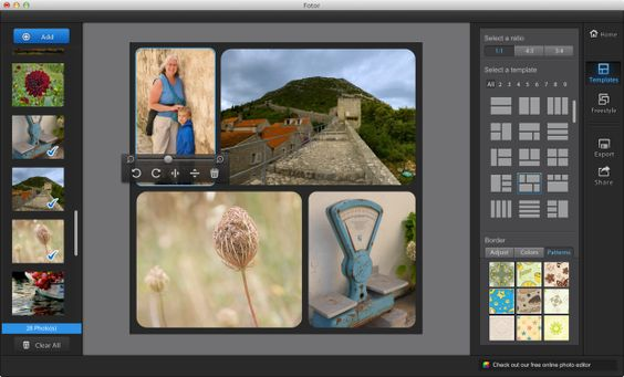 Make Great Photo Collages for Free.  mac pc iphone android.